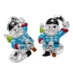 Deakin & Francis Enamel Sterling Silver Pirate Cufflinks
