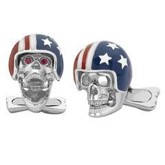 Deakin & Francis Ruby Silver American Helmet Biker Skull Cufflinks