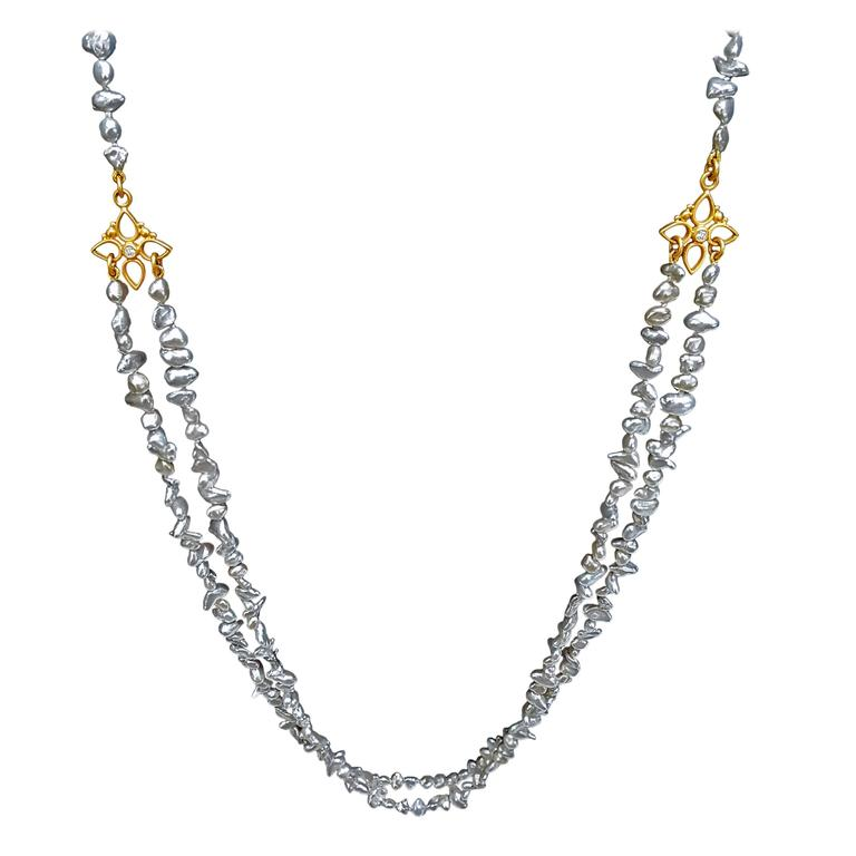 Denise Betesh Blue Silver Keshi Pearl Double Strand Diamond Gold Necklace