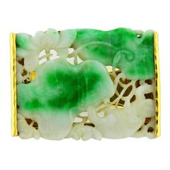 David Webb Carved Jade Gold Cuff Bracelet