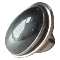 Georg Jensen Ring No. 46E with Hematite Cabochon by Harald Nielsen
