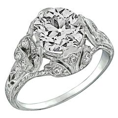 2.39 Carat Old European Cut Diamond Platinum Engagement Ring