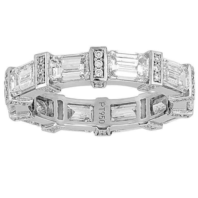4.39 Carats Diamond Emerald Cut Platinum Eternity Band Ring For Sale
