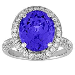 5.83 Carat Oval Tanzanite Diamond Gold Ring