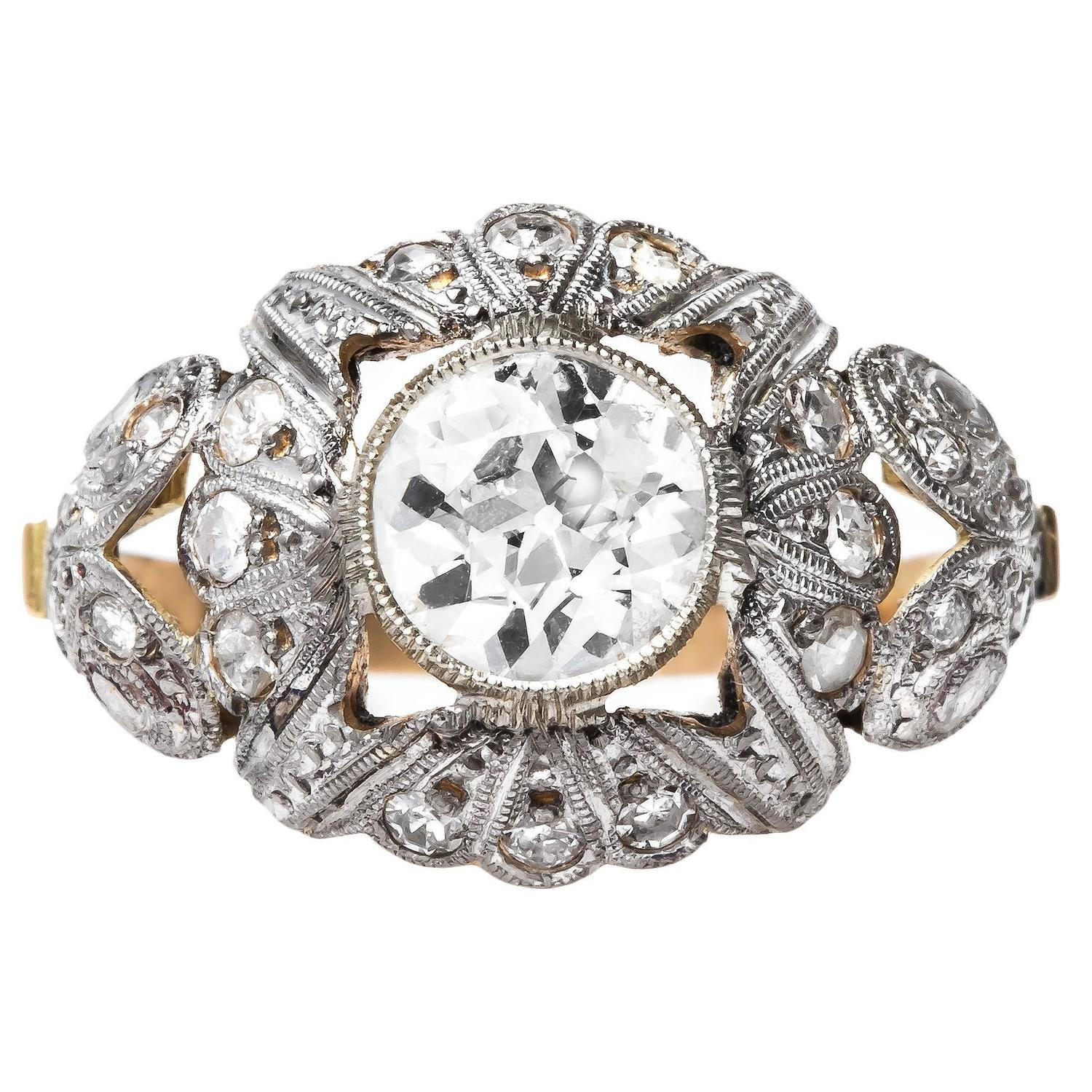 Art Nouveau diamond gold platinum Engagement Ring at 1stdibs