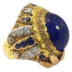 Cazzaniga Lapis Diamond Sapphire gold Ring