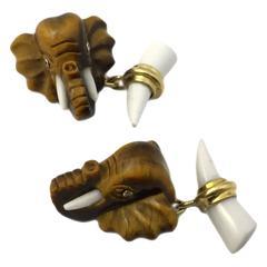 Fun Elephant Tiger Eye and Onyx Cufflkinks