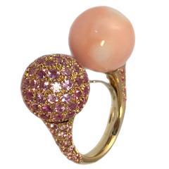 Chantecler Coral and Pink Sapphire Toi et Moi Ring