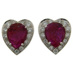 No-Heat Natural Ruby Diamond Gold Heart-shape Earrings