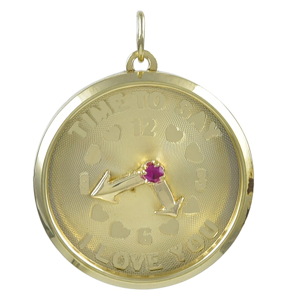 """""""Time To Say I Love You"""" Gold Charm"""