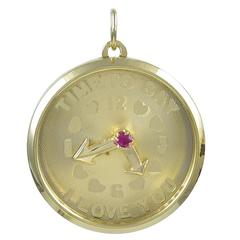 """Time To Say I Love You"" Gold Charm"