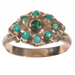 18th Century Turquoise Gold Fede Ring