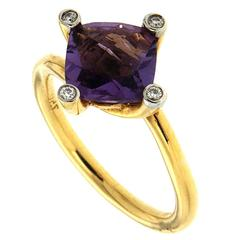 Cushion Amethyst Diamond Gold Solitaire Ring