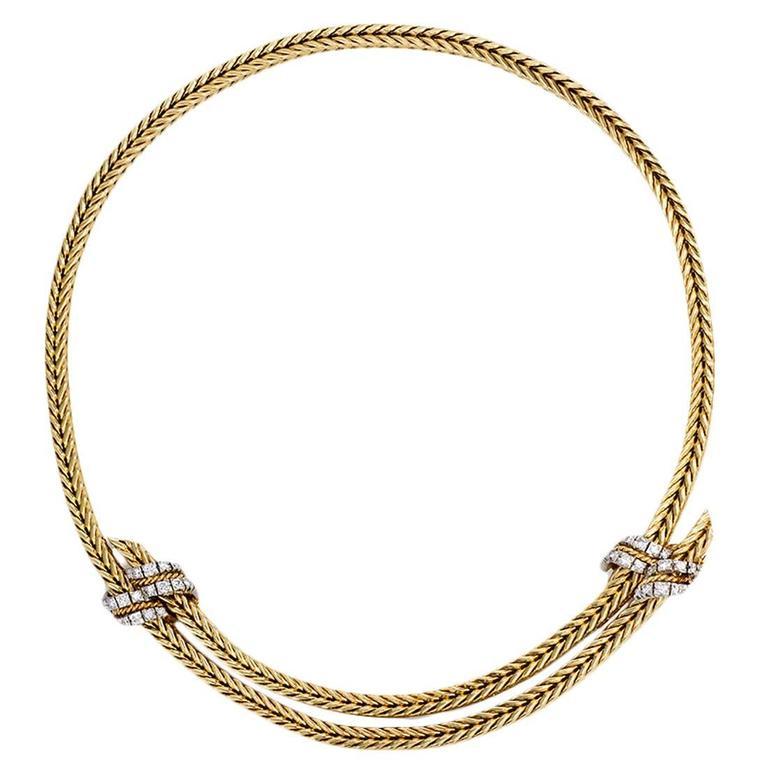 1950s Georges L'Enfant for Hermès Adjustable Diamond Gold Necklace