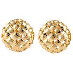 Tiffany & Co. Gold Woven Button Earrings