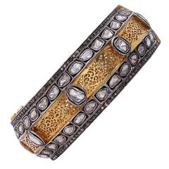 Stunningm Bangle with Rose Cut Diamonds in Gold and Silver