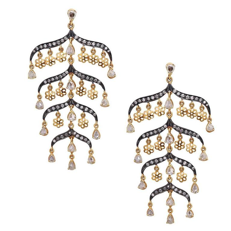 Victorian Looking Gorgeous Diamond Gold Earrings For Sale