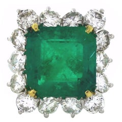 13.00 Carat GIA Certified Colombian Emerald Diamond Gold Ring