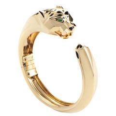 Cartier Panthere Gemstone Gold Bangle Bracelet