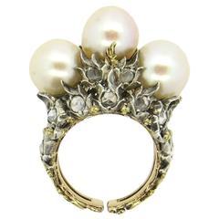 Impressive Buccellati Rose Cut Diamond Pearl Gold Ring