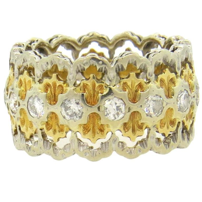 Buccellati Diamond Gold Wide Band Ring  For Sale