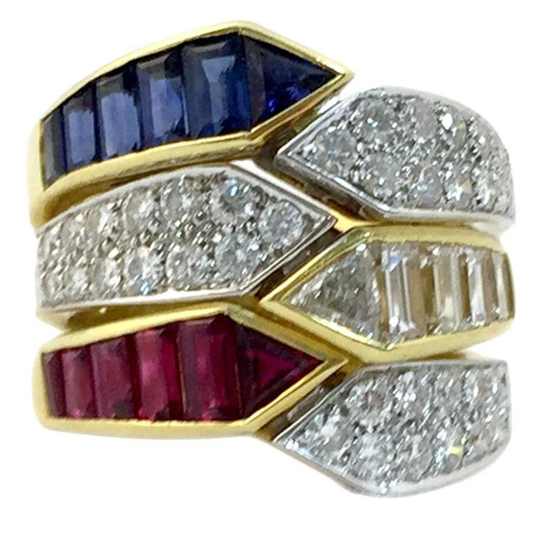 Triple sapphire ruby diamond gold ring combination for for Triple j fine jewelry