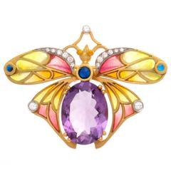 Masriera Plique-A-Jour Amethyst Diamond Sapphire Gold Brooch
