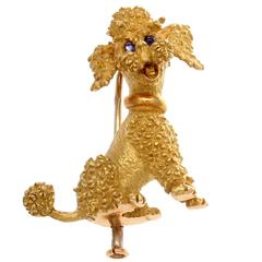 French Sapphire Gold Poodle Brooch