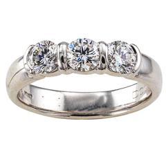 Tiffany Three Stone Diamond Platinum Ring