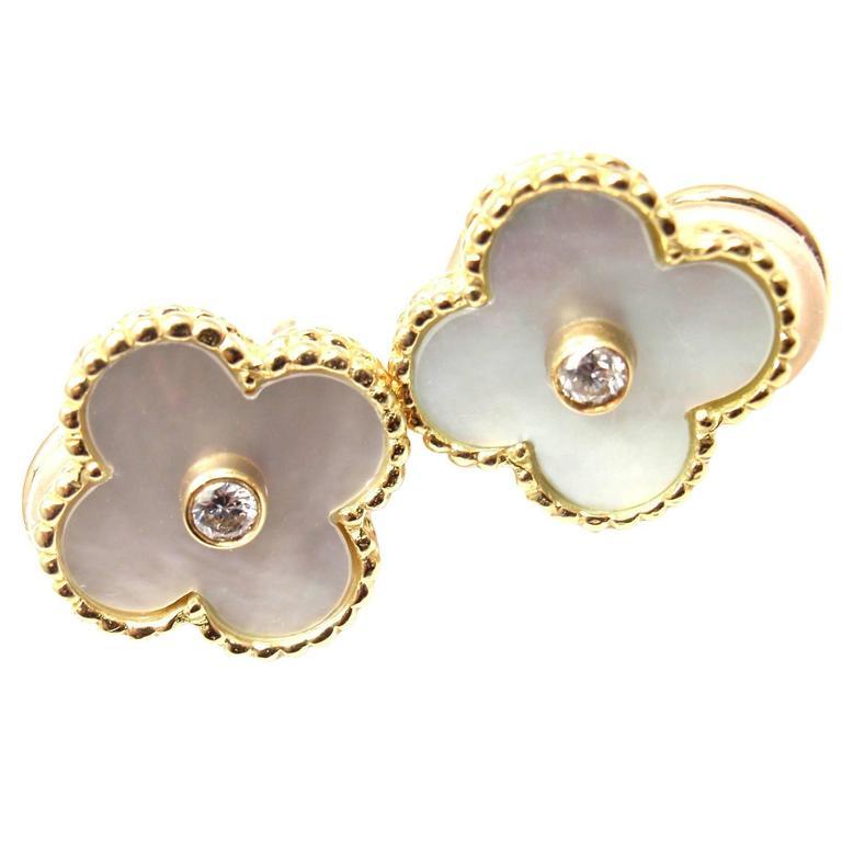 Van Cleef & Arpels Alhambra Mother Of Pearl Diamond Gold Earrings For Sale