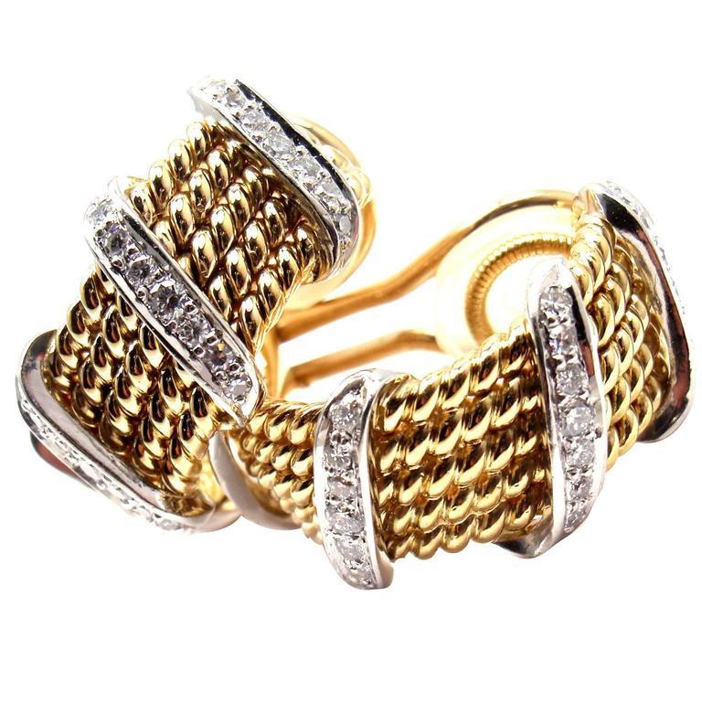 Tiffany & Co Jean Schlumberger Diamond Yellow Gold Earrings