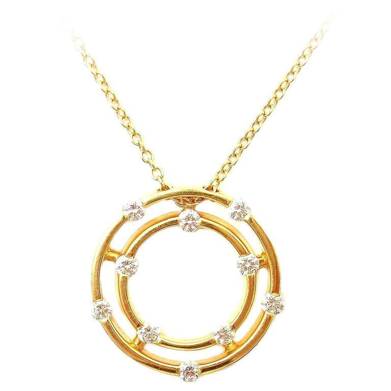 Roberto Coin Double Hoop Diamond Yellow Gold Pendant