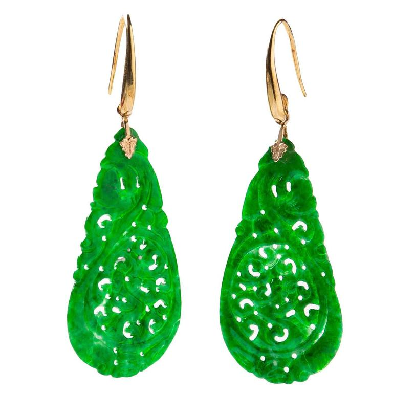 Carved Green Jade Earrings For Sale