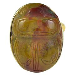 Large Antique Carved Brown and Red Agate Gold Scarab Ring