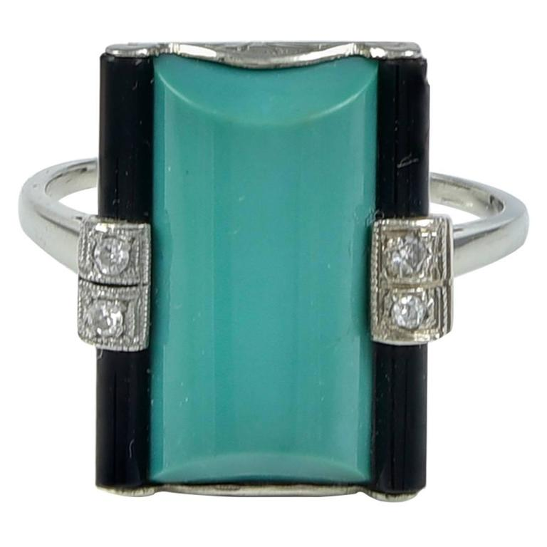 Art Deco Green Turquoise Onyx Diamond Ring 1