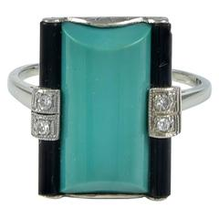 Art Deco Green Turquoise Onyx Diamond Ring