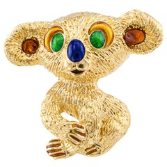 1960s Kutchinsky Enamel Gold Koala Bear Brooch