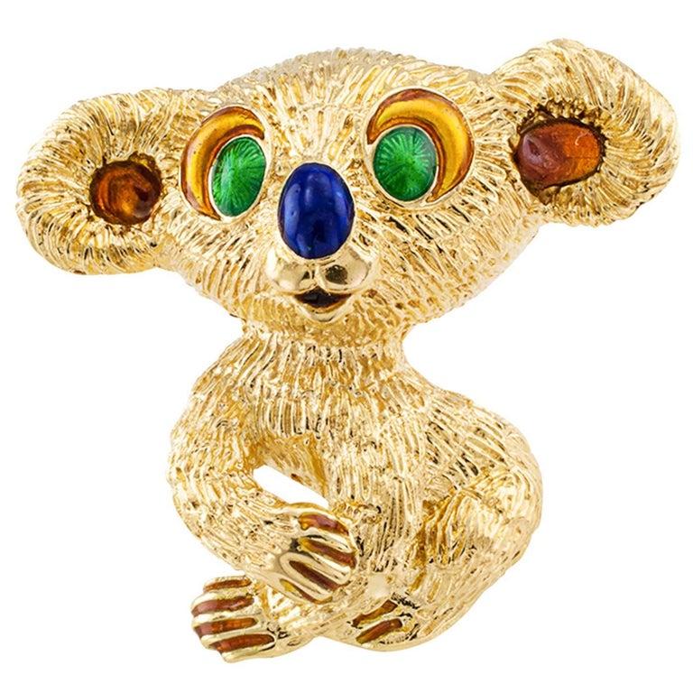 1960s Kutchinsky Enamel Gold Koala Bear Brooch For Sale