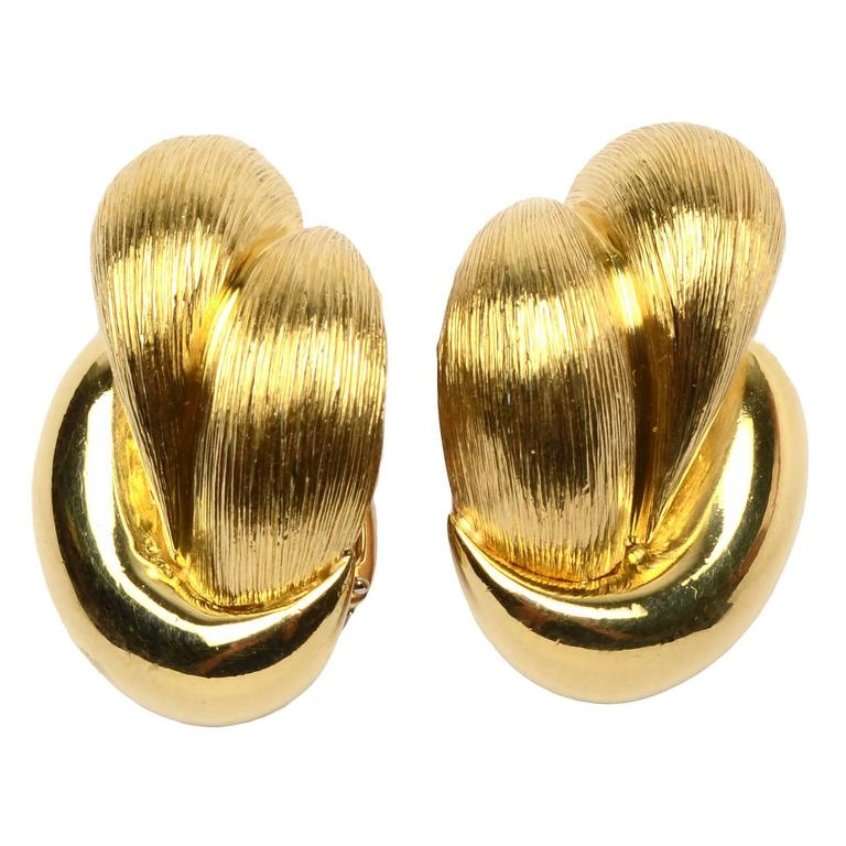 Henry Dunay Large Gold Earrings For Sale