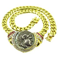 Stunning Ruby Diamond Gold Ancient Greek Alexander the Great Coin Necklace