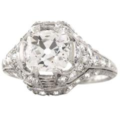 Art Deco 3.03 Carats Total Weight Diamond Platinum Engagement Ring