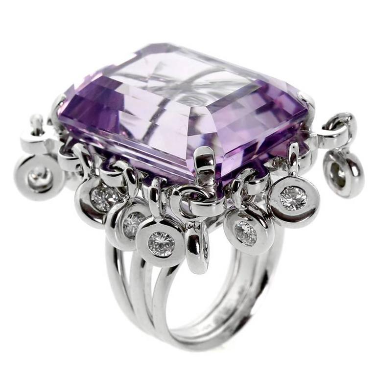 Dior Magnificent Emerald Cut Amethyst Diamond Gold Ring