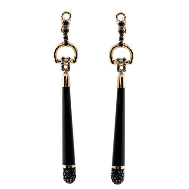 Gucci Horsebit Black Diamond Gold Earrings For Sale