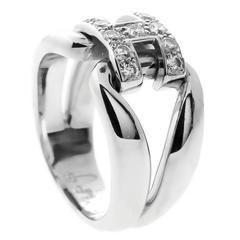 Hermes Diamond Gold H Ring