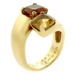 Hermes Citrine Crossover Gold Ring