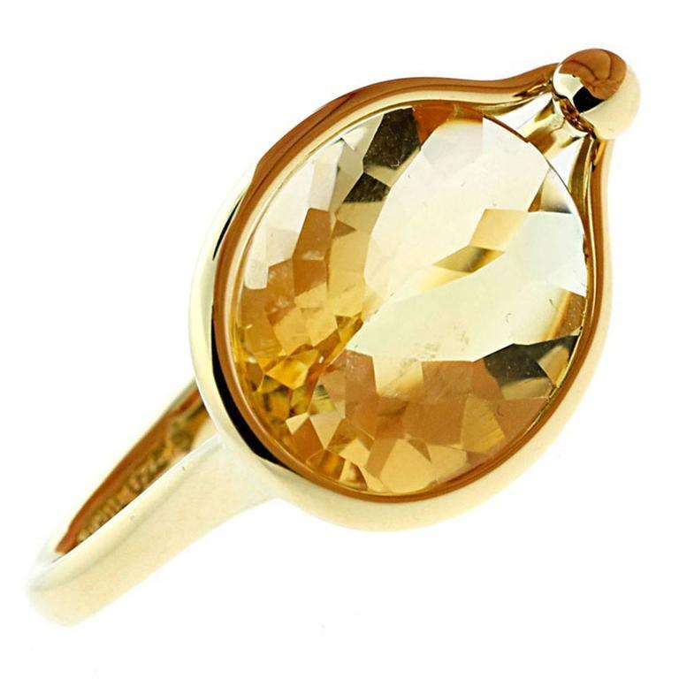 Georg Jensen Citrine Gold Ring For Sale at 1stdibs