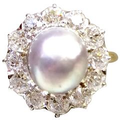 Natural Pearl Diamond Gold Platinum Ring