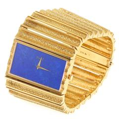 Piaget 1970s Gold and Lapis Bracelet Watch