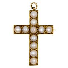 Elegant Gold and Pearl Antique Cross Pin/Pendant