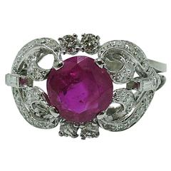 Burma Gubelin Certified Unheated Ruby Diamond Gold Ring